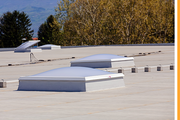 white TPO flat roof on a commercial building in Iowa