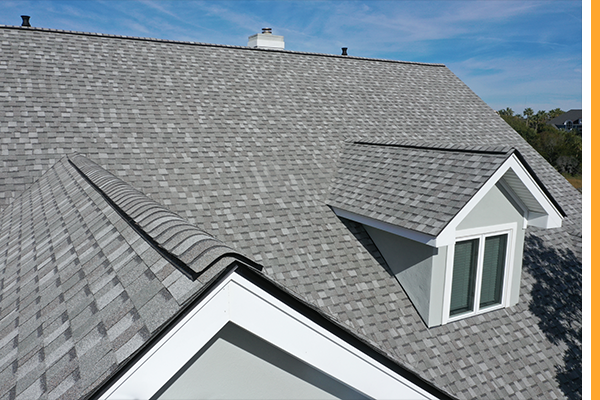 Light grey shingle roof on a residential house in Iowa