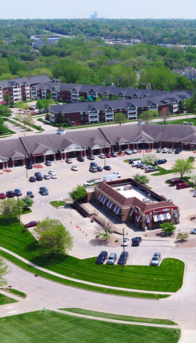 aerial view of shopping center in Urbandale, IA